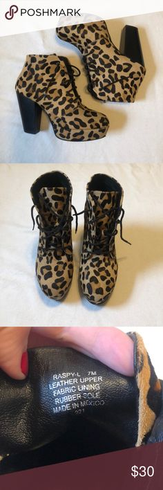 3d7947e0f20d Steve Madden Leopard Print Leather Booties Size 7. Poshmark