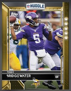 Teddy Bridgewater Minnesota Vikings Gold Parallel Card 2016 Topps HUDDLE