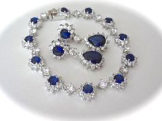 Sapphire bracelet and earring set  Cubic by QueenMeJewelryLLC