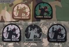 """Sometimes people need an excuse to have a lot of guns and gear....and Zombie Huntn' is a good one!    Black hook velcro sewn on the back.  2.75"""" x 2.75"""" http://www.shadez-of-gray.com/clothing-apparel/morale-patches/zombie-hunter-patch/"""