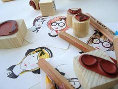 Dressup doll stamp set 'Headset' curls by deKrantenkapper on Etsy, €14.50