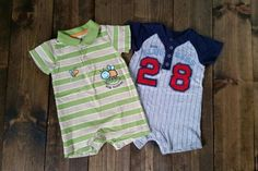 Carter's one-piece outfits. Lot of 2. Size 12 months. $5. One Piece Outfit, 12 Months, Size 12, Garage, Outfits, Tops, Fashion, Carport Garage, Moda