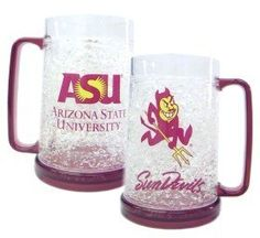 Arizona State Sun Devils Crystal Freezer Mug by Duck House. $14.40. Made in China. 16 ounce mug with coordinated handle and base. Acrylic mug imprinted with team colors and logo. State of the art freezability. NCAA Arizona State Sun Devils Crystal Freezer Mug. Save 20%!