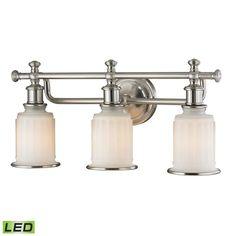 "Elk Lighting 52002/3-LED Acadia 3 Light 22"" LED Vanity Fixture with Frosted Glas Brushed Nickel Indoor Lighting Bathroom Fixtures Vanity Light"