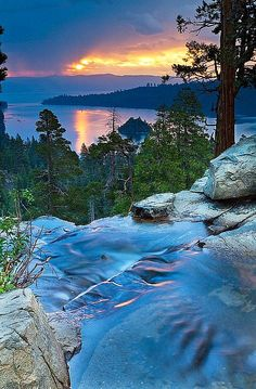 Eagle Falls, Lake Tahoe, California. I have stood in this very spot. Beautiful. Photo credit to www.99traveltips.com