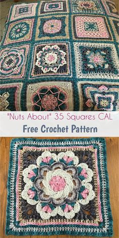 Crochet Square Pattern Nuts About 35 Squares CAL [Free Crochet Pattern] Crochet Squares, Crochet Ripple Blanket, Crochet Square Patterns, Crochet Quilt, Crochet Blocks, Crochet Blanket Patterns, Crochet Motif, Crochet Yarn, Crochet Stitches