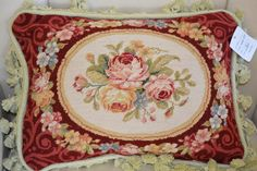 French Country Style Handmade Petite Point Needlepoint Pillow in Crafts, Handcrafted & Finished Pieces, Needle Arts & Crafts French Country Dining Room, French Country Style, French Country Decorating, French Decor, Needlepoint Pillows, Textiles, Fabric Rug, Motif Floral, Crewel Embroidery