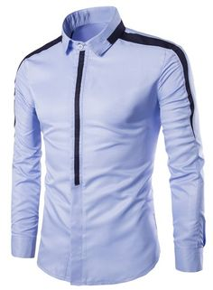 Cheap mens shirts pockets, Buy Quality mens slimming t shirts directly from China shirt parts Suppliers: Fashion Mens Business Shirts Covered Zipper Placket Contrast Color Long Sleeve Shirt Men Slim Fit Tops Camisa Masculina Chemise Slim Fit Casual Shirts, Stylish Shirts, Trendy Outfits, Men Casual, African Men Fashion, Mens Fashion, Mens Shirts Online, Men Shirts, African Shirts