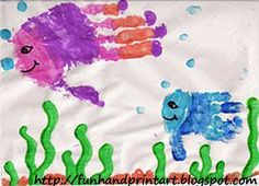 Cute Handprint Fish Tile Keepsake - Fun Handprint Art
