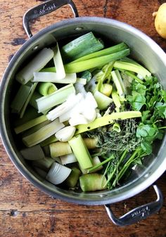 With soup season here, I thought it would be nice to give the vegetable stock recipe I love its own post. Here it is! It takes 45 minutes and will yield 2 quarts of flavorful broth to use in all of your favorite soups in the months ahead. // alexandracooks.com