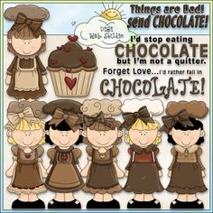 Clip Art and Digital Stamps Download with 10 Color Images and 10 Black and White Images with a white fill (as shown in the preview).  All images are high quality 300 dpi for beautiful printing results.Formats: transparent PNG and non-transparent JPGIncludes: 6 girls wearing baker's hats, aprons and dresses, 1 chocolate cupcake, 1 word art of: THINGS ARE BAD!