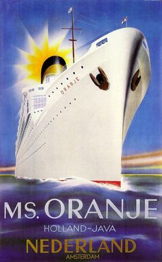 1939. MS. Oranje Dutch shipping poster