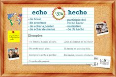 Spanish grammar and vocabulary made easy: look at his image to remember the difference between echo vs hecho Repin this post for later!