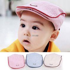 Cute Baby Kids Infant Boy Girl Stripe Beret Cap Peaked Baseball Hat Casquette #Affiliate