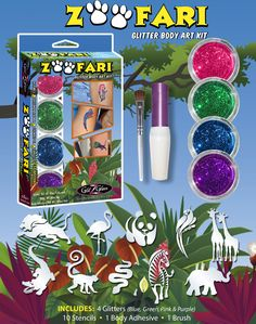 Zoofari body art kit includes a collection of 10 of the most popular animal tattoo designs and 4 spectacular colors in the spirit of the Zoo, Safari & Jungle.  It also includes 1 body adhesive and 1 cosmetic brush. If you planned on showing off with an elephant, lion king, giraffes, zebra, monkey, snake, panda bear, parrot, pink flamingo & a crocodile – - Then this kit is a must!