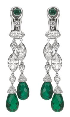 Chaumet Classics earrings in 18K rhodium-plated white gold, diamonds and emeralds