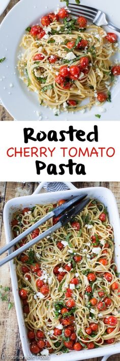Sweet cherry tomatoes are tossed with olive oil, garlic, and balsamic vinegar before hitting the oven. This vibrant roasted cherry tomato pasta is quick, easy, and will quickly become a family favorite!