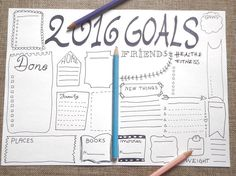 2016 goals bujo journal printable planner agenda layout template office home organizer work bujo notebook journal download lasoffittadiste