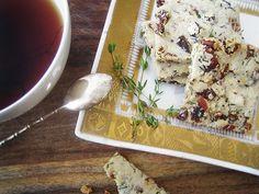 Gluten-Free, Dairy-Free Raisin, Pecan & Thyme Tea Biscuits (swap raisin for cranberry) ; vegan ; tea cookies ; almond flour