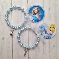 "8 - Cinderella Glass Slipper Charm Blue Pearl Bracelet With Choice of Tag Birthday Party Favor or Slumber Party Favor 6"" Bracelet - pinned by pin4etsy.com"