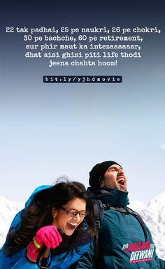 Best Lyrics Quotes, Bff Quotes Funny, Movie Quotes, Good Thoughts Quotes, Good Life Quotes, Attitude Quotes, Yjhd Quotes, Bollywood Love Quotes, Dear Zindagi Quotes