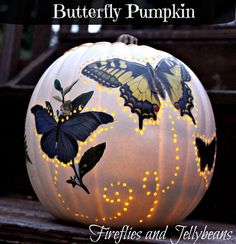 Fireflies and Jellybeans: The Pumpkin Challenge: 2 Easy DIY Pumpkin Ideas... i think it would look cool with vintage Halloween art deco'd on there.. or painted black with vintage halloween art.. what do you think?