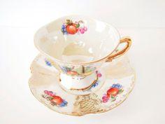 Vintage Pedestal Shafford teacup and saucer by BelleBloomVintage