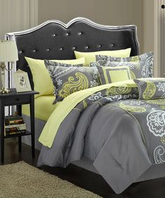 Another great find on #zulily! Gray & Yellow Paisley Reversible Comforter Set #zulilyfinds