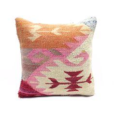 Bohemian Pink Tangerine Vintage Kilim Pillow
