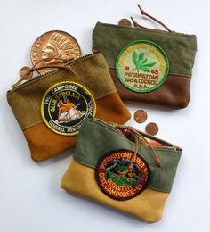 Den & Delve, Camp & Scout Collection: Coin & Card pouches made from vintage materials.