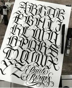 Discover recipes, home ideas, style inspiration and other ideas to try. Tattoo Lettering Alphabet, Chicano Tattoos Lettering, Tattoo Lettering Styles, Graffiti Lettering Fonts, Graffiti Alphabet, Creative Lettering, Script Lettering, Lettering Design, Calligraphy Alphabet