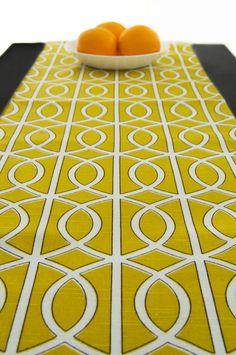 Yellow Table Runner, Table Runner Modern, Geometric Table Runner