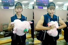 What are you doing with this cute toy Jimin ?? XD
