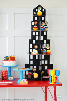 Superhero cupcake tower! Modern Superhero themed birthday party by Kara Allen   Kara's Party Ideas   KarasPartyIdeas.com-20 6th Birthday Parties, Birthday Party Decorations, Incredibles Birthday Party, Dessert Table Birthday, Carousel Party, Superhero Theme Party, Superman Birthday, Lego, Miles Morales