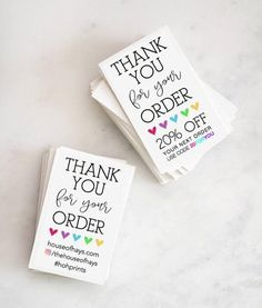 Makers Thank You For Your Order with custom Social Media OR Business Thank You Cards, Business Card Size, Craft Business, Etsy Business Cards, Diy Buisness Cards, Business Stickers, Business Names, Business Logo, Business Ideas