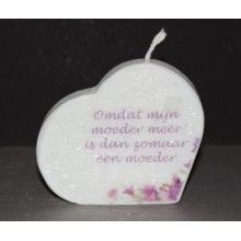 Kleine hartkaars wit met kristalstructuur, bedrukt met een mooie tekst voor moeder.