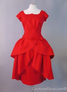 1950s Red Tiered Skirt Cocktail Dress