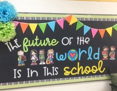 Every time I go by this bulletin board I can't help but smile. The future of t… Every time I go by this bulletin board I can't help but smile. The future of the world 🌎 is in fact in our schools and classrooms. World Bulletin Board, Elementary Bulletin Boards, Kindergarten Bulletin Boards, Back To School Bulletin Boards, Classroom Board, Classroom Bulletin Boards, Classroom Themes, In Kindergarten, Leadership Bulletin Boards
