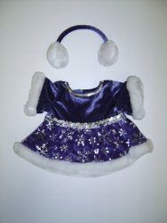 "Purple Snowflake Dress Outfit Teddy Bear Clothes Fits Most 14"" - 18"" Build-a-bear, Vermont Teddy Bears, and Make Your Own Stuffed Animals"