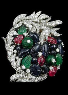 Diamond,Ruby and Sapphire Brooch.