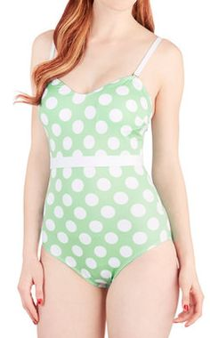 Mint dot swimsuit - on sale for $39.99! http://rstyle.me/n/kv695nyg6