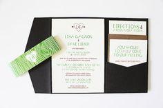 Woodgrain Pocketfold Invitations by wickedbride on Etsy, $100.00