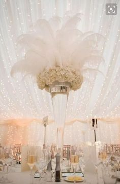 tall feather wedding centerpiece ideas for great gatsby wedding