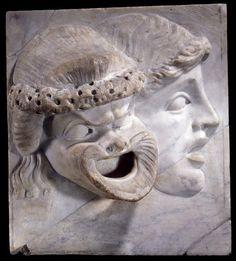 Reliefs de masques de théâtre. Masque tragique et comique. Période : Haut-Empire romain (27 av J.-C.-235 ap J.-C.) (période). Royaume-Uni, Londres, British Museum