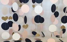 Pink, Navy, Gold Glitter Paper Garland