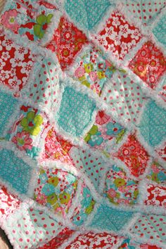 Baby Girl Rag Quilt Red Aqua Nursery on Etsy, $58.65  Baby girl needs this!