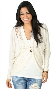 Deb Shops Long Sleeve Dolman Cardigan with Lace Insets and One Button $16.73