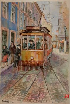 """""""Oh I do love a tram. This particular one is in Lisbon on the Rua de Misericórdia and painted in Watercolours by Vanessa d'Azevedo. It has character"""" Bullet Journal Art, Colorful Artwork, Urban Sketchers, Beautiful Paintings, Portuguese, Location History, Watercolor Art, Illustration Art, Watercolours"""