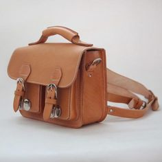 Small Leather Satchel with Metal Clasp Closures - Fallfor.com