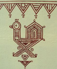 Bheenth Chitra - A unique Indian tribal wall art style (Step by step guide) - Bheenth Chitra – Sample motif for Indian tribal wall art - Madhubani Art, Madhubani Painting, Worli Painting, Fabric Painting, Indiana, Traditional Paintings, Traditional Art, Indian Wall Art, Indian Art Paintings